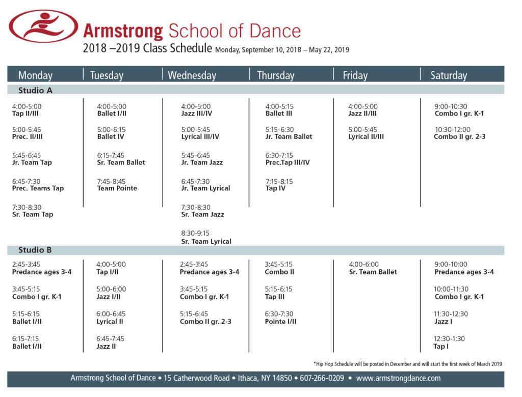 Armstrong School of Dance Class Schedule 2017-2018