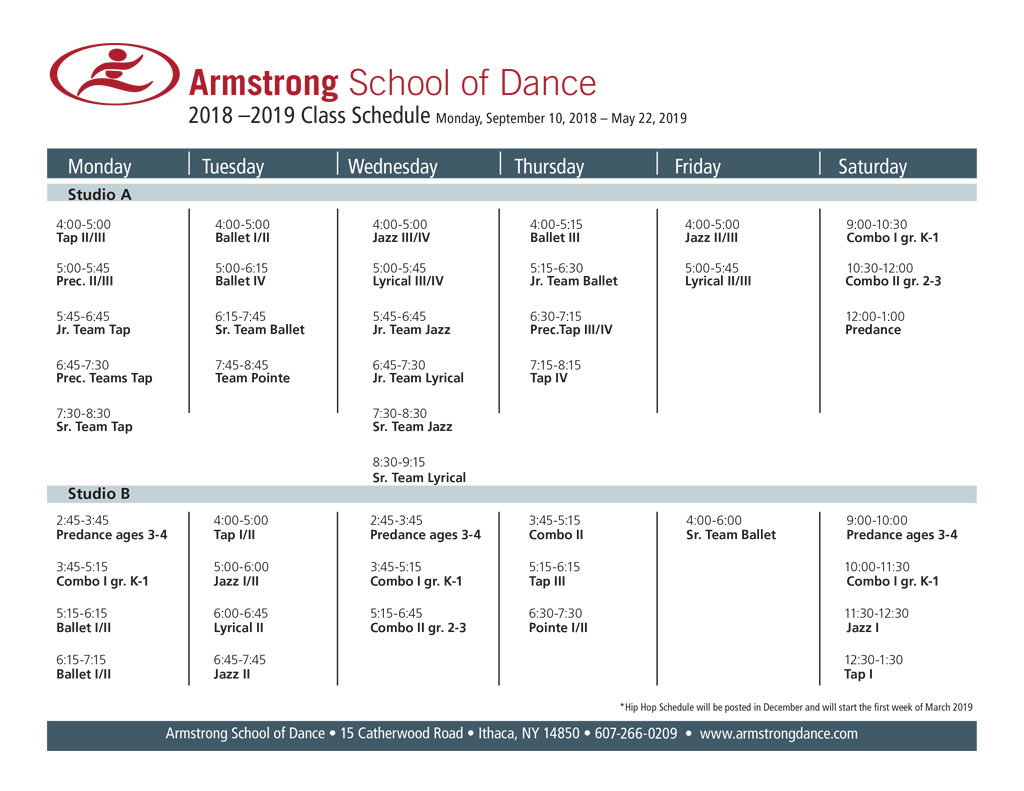 Armstrong School of Dance Class Schedule 2017-2018
