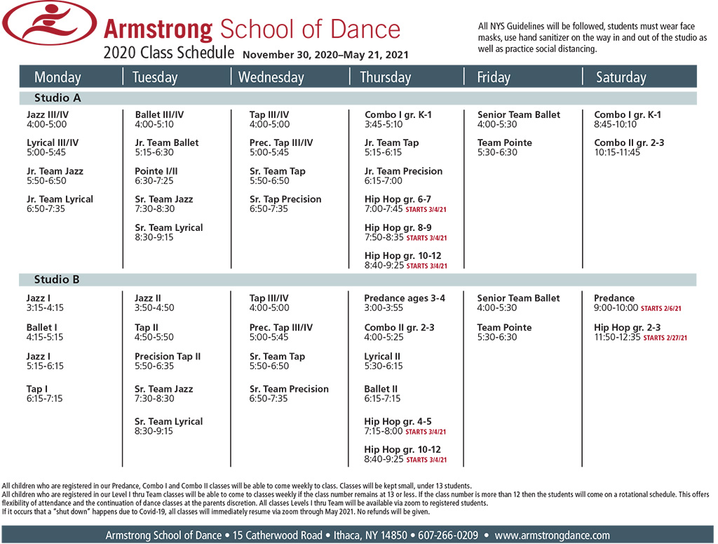 Armstrong School of Dance Class Schedule