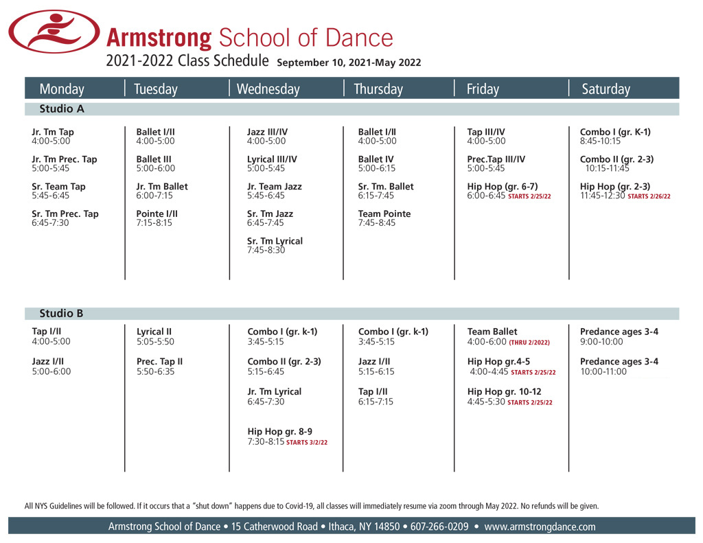 Armstrong School of Dance Class Schedule